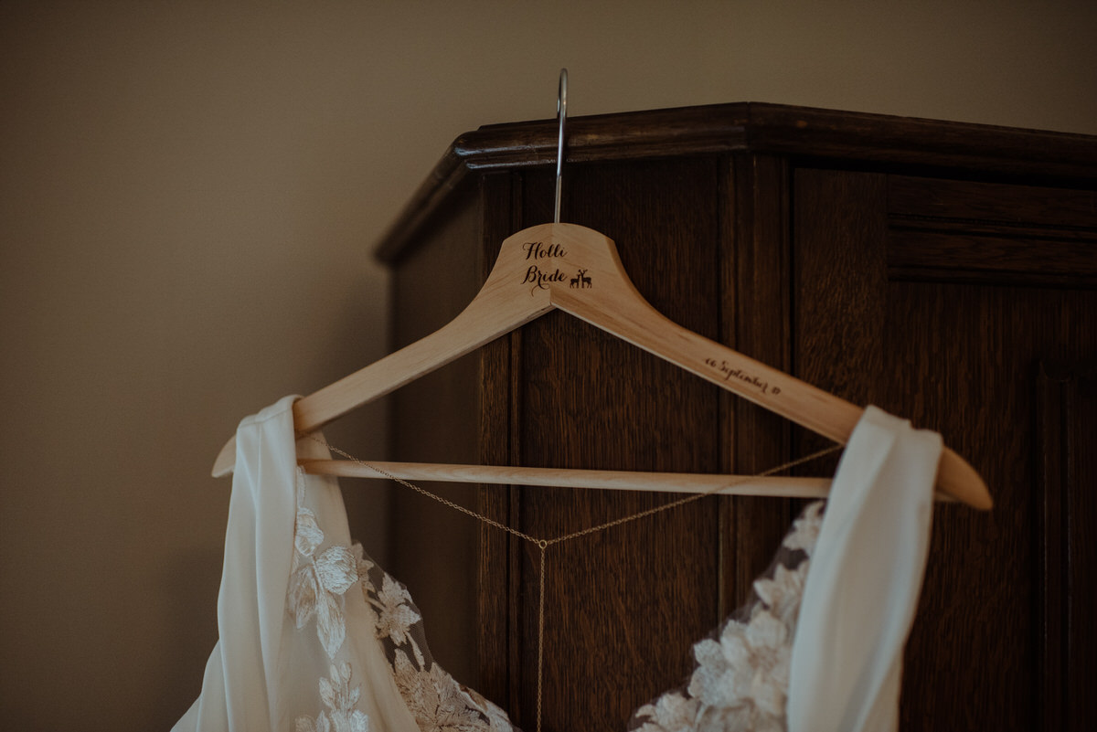 brides wedding hanging up at Dalduff Farm
