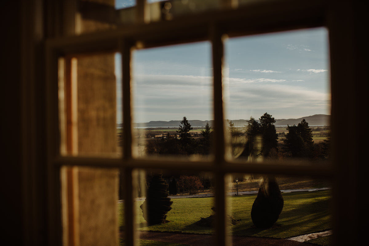 The view from the window at Fingask Castle Wedding