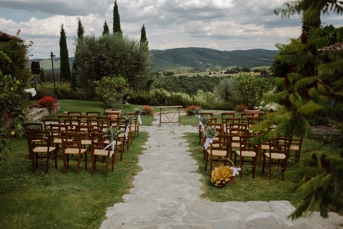 The ceremony view from a Casa Cornacchi wedding