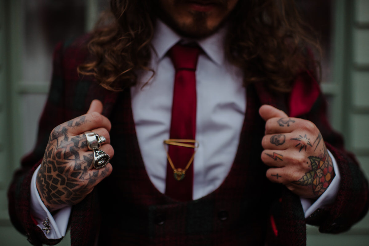 Tattooed groom at Fingask Castle Wedding