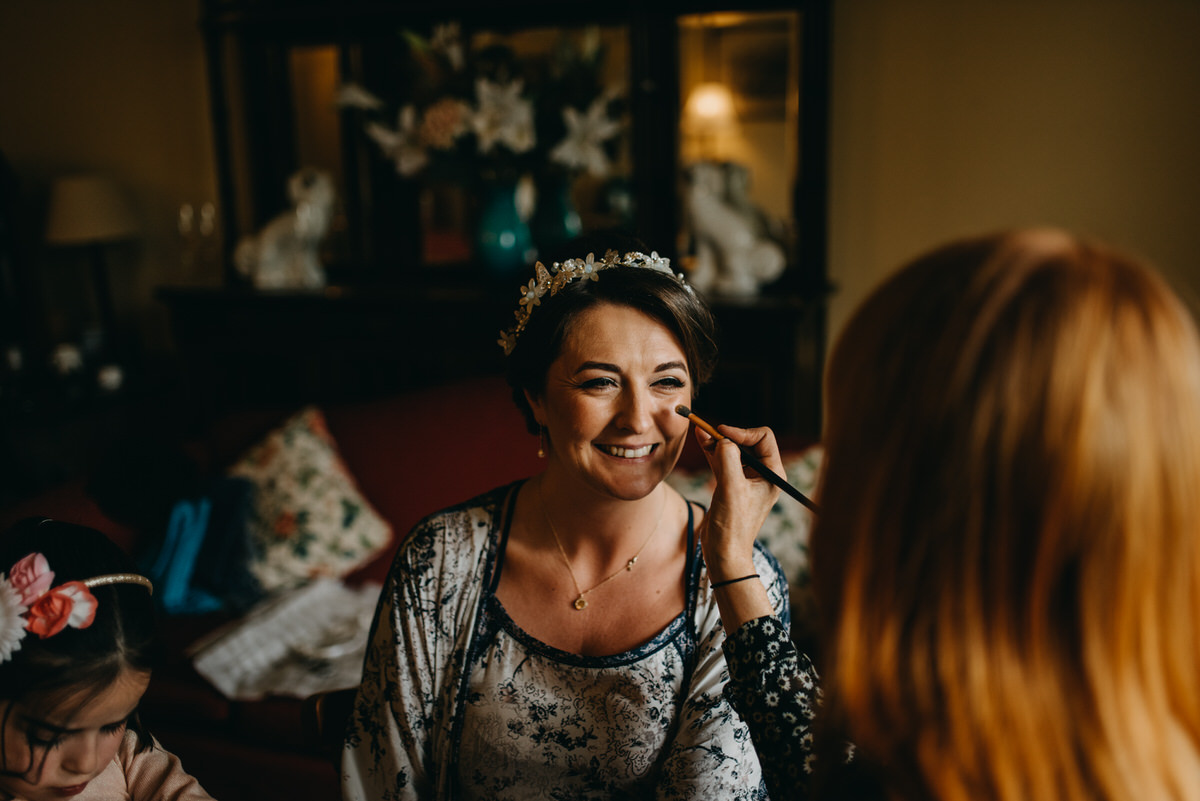 Bride getting ready at a Cambo Estate Wedding