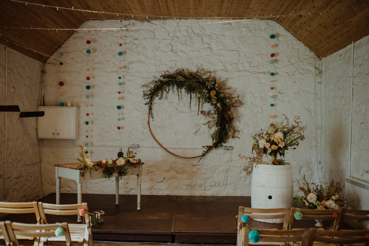 The ceremony room setup at a Dalduff Farm Wedding