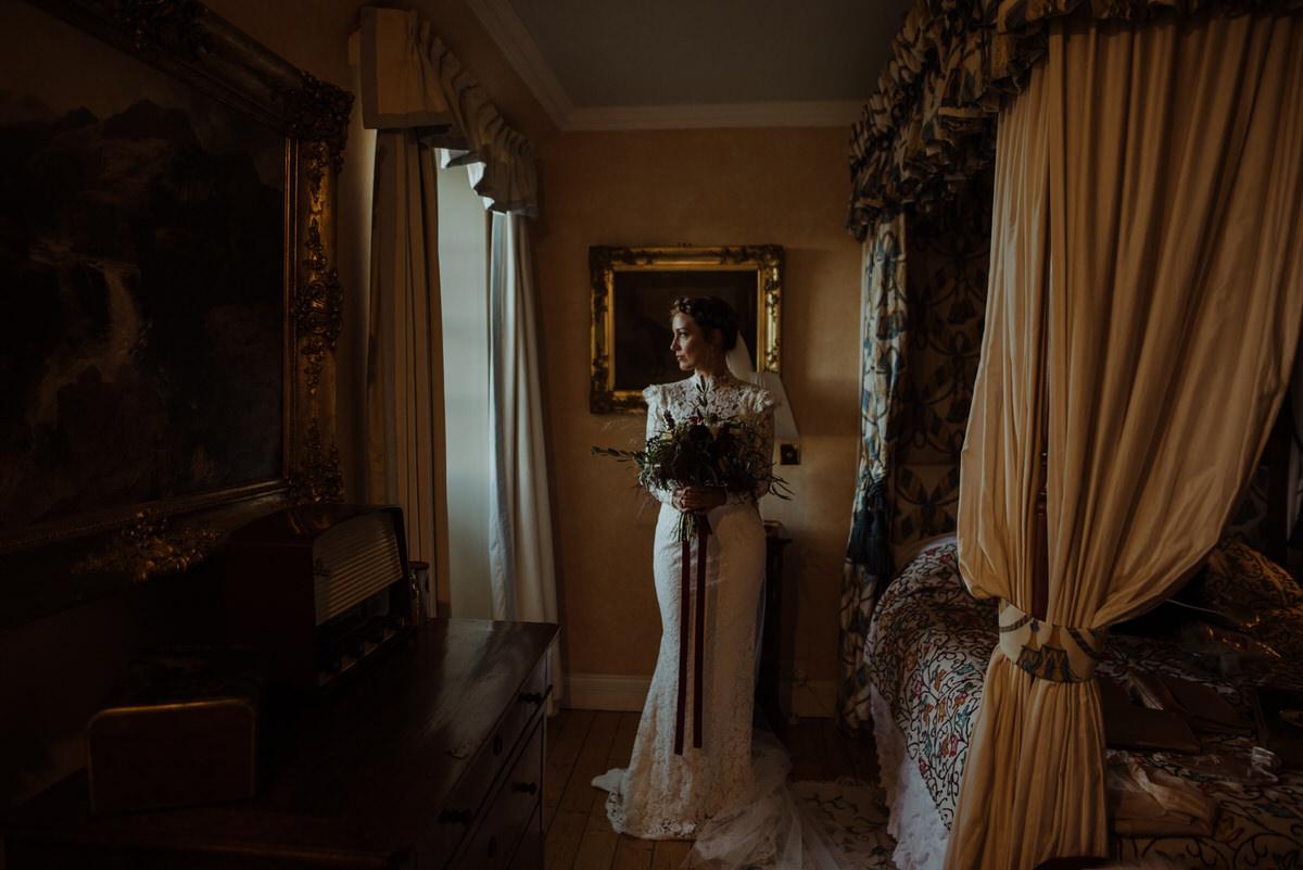 bridal portrait in Fingask Castle bedroom