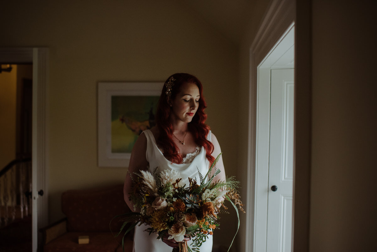 Bride getting ready at a Dalduff Farm Wedding