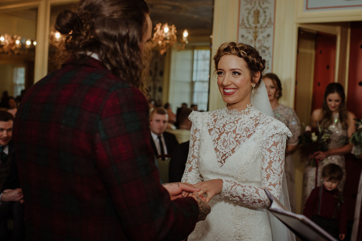 Bride and Groom at Fingask Castle Wedding ceremony
