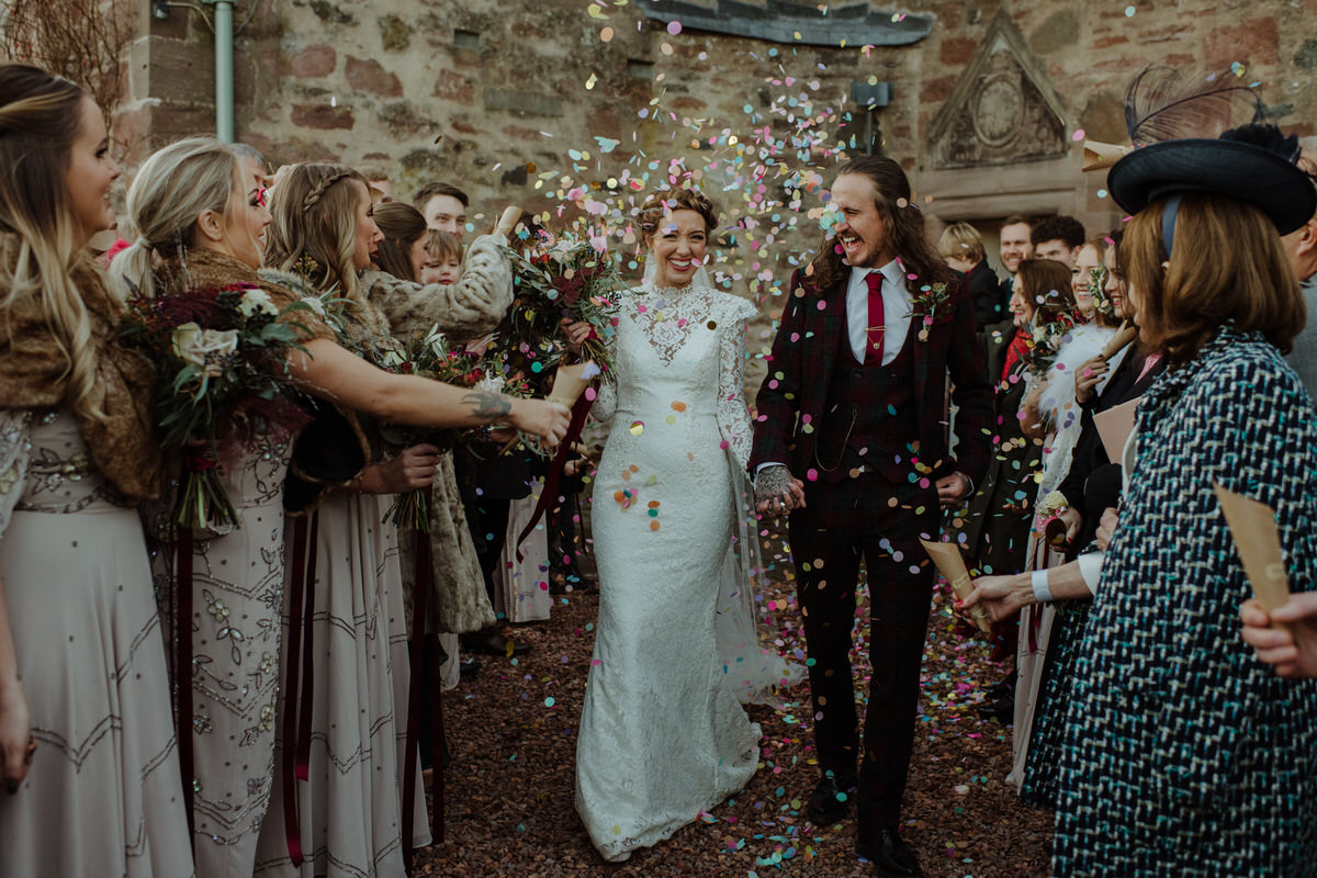 Confetti Fingask Castle Wedding