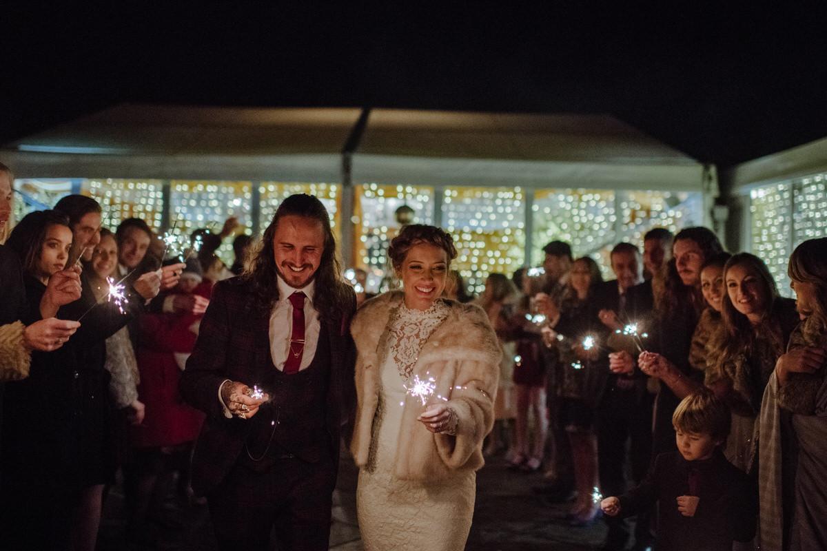 Sparklers at Fingask Castle Wedding