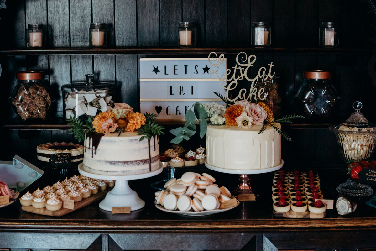Delicious looking cake table at at a Dalduff Farm Wedding