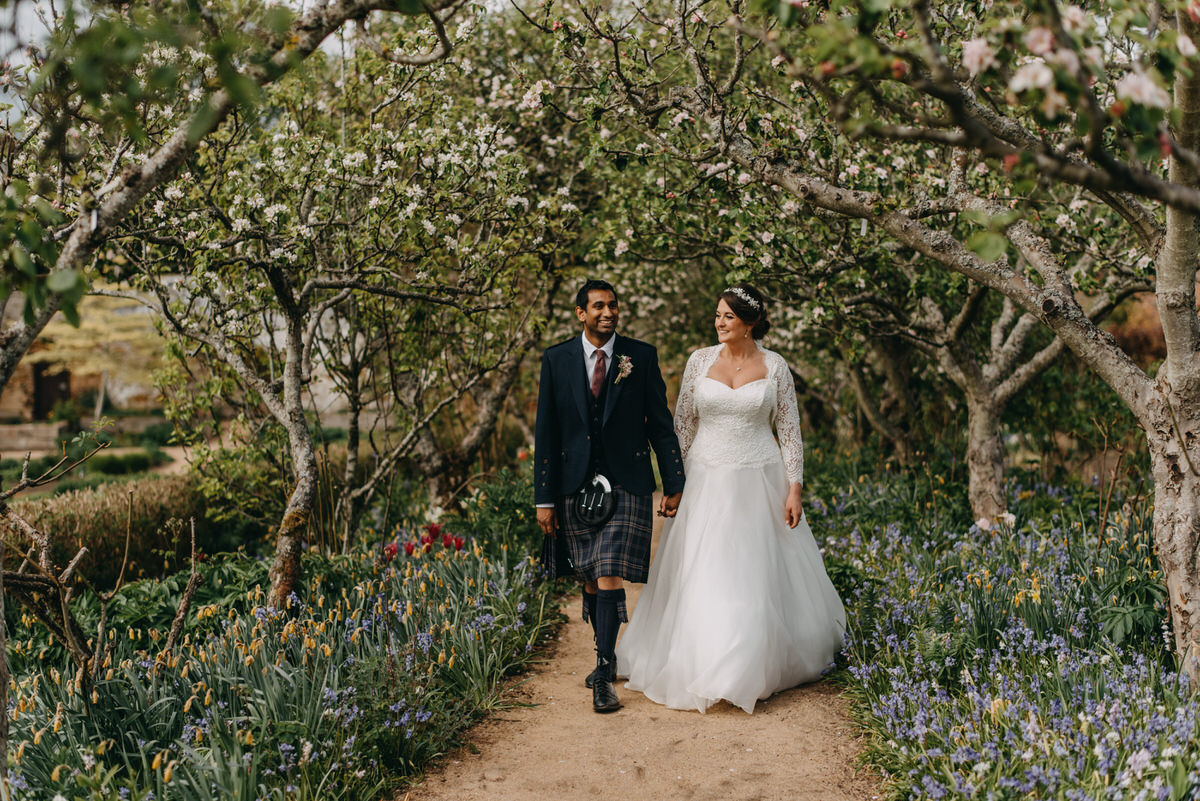 The stunning walled garden at a Cambo Estate Wedding