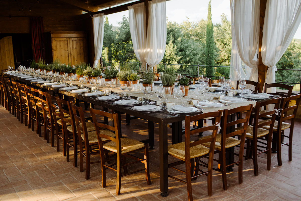 Dining room setup at a wedding at Casa Cornacchi