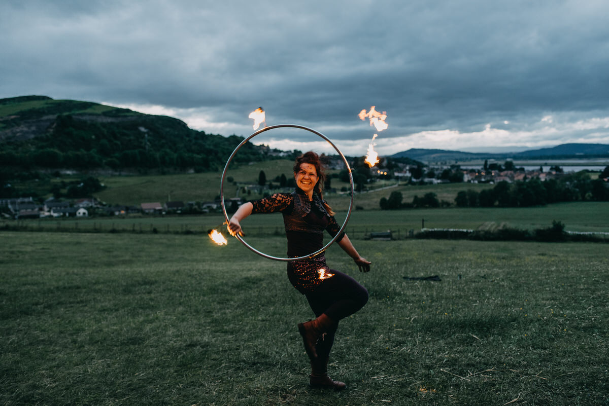 fire performer at a wedding in Scotland