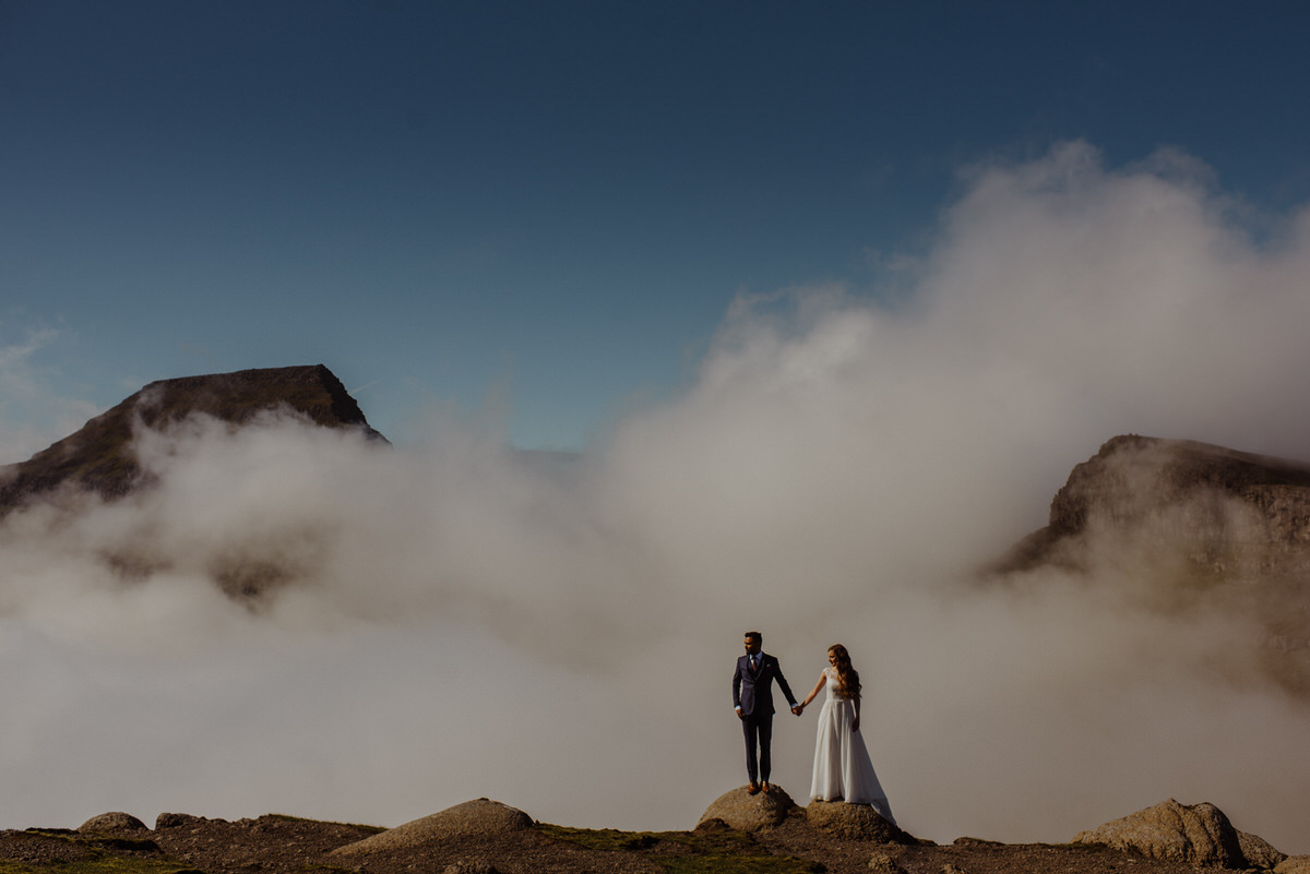 wedding photograph taken up the mountains in the Faroe Islands