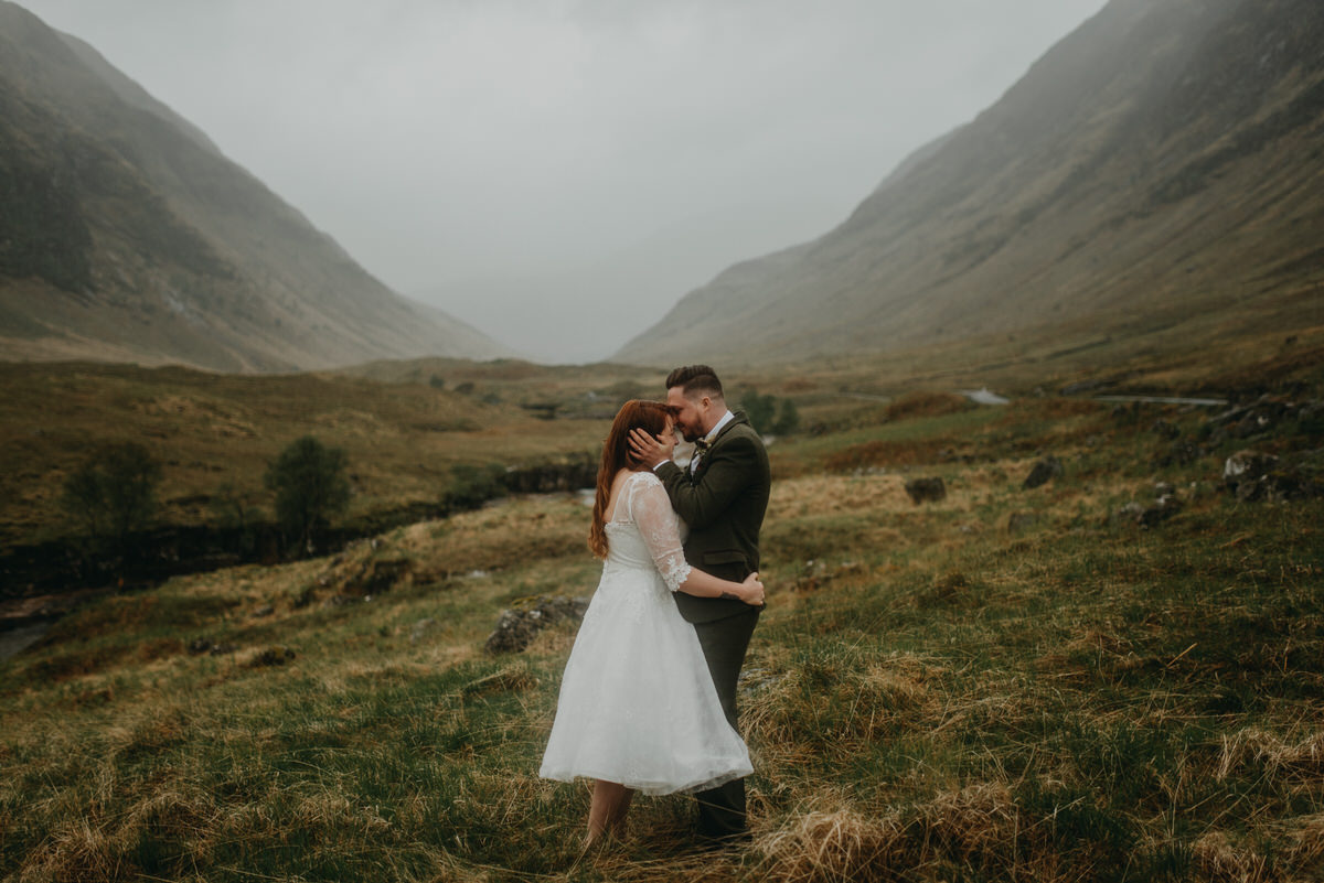 The couple pick the Sky Fall location in Glencoe for their elopement ceremony