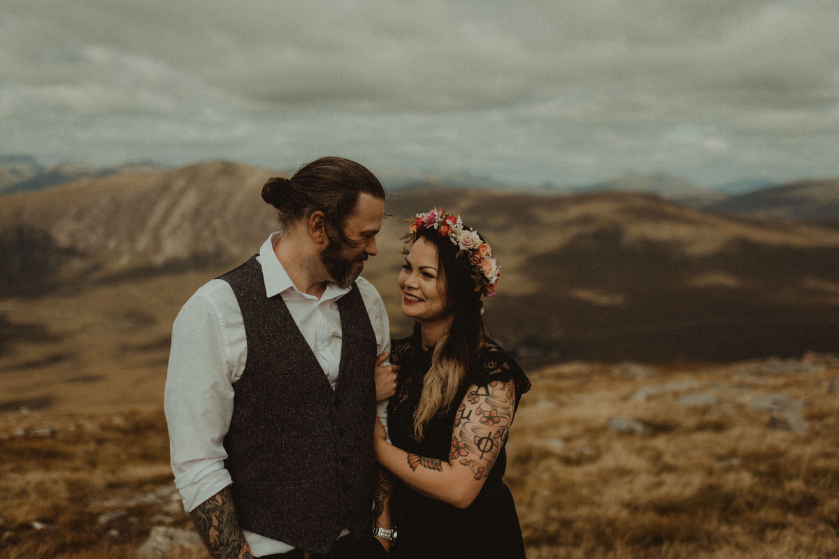 tattooed bride elopes to Glencoe