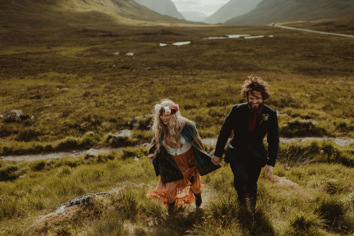 wedding couple exploring Glencoe