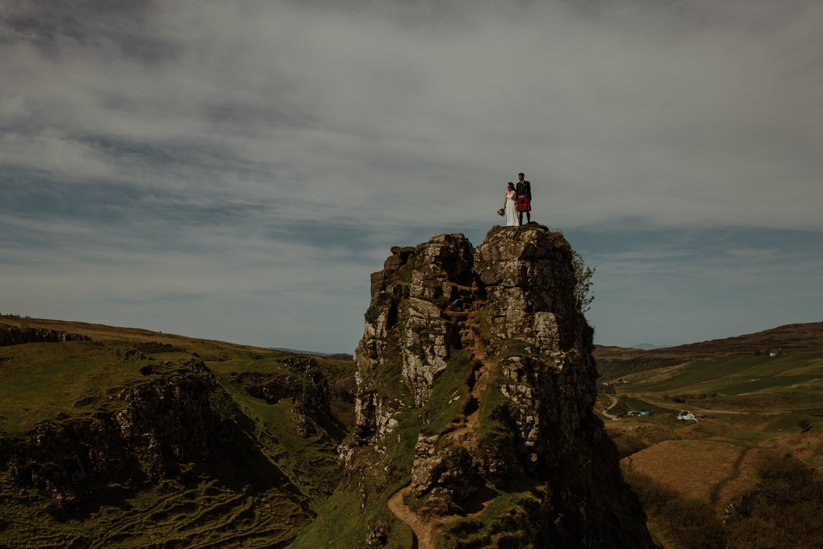 wedding photo at the fairy glen isle of Skye