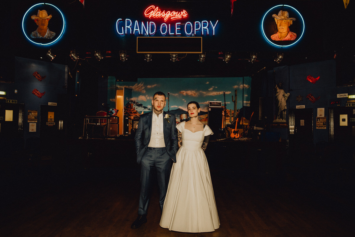 A wedding couple at the Grand Ole Opry in Glasgow