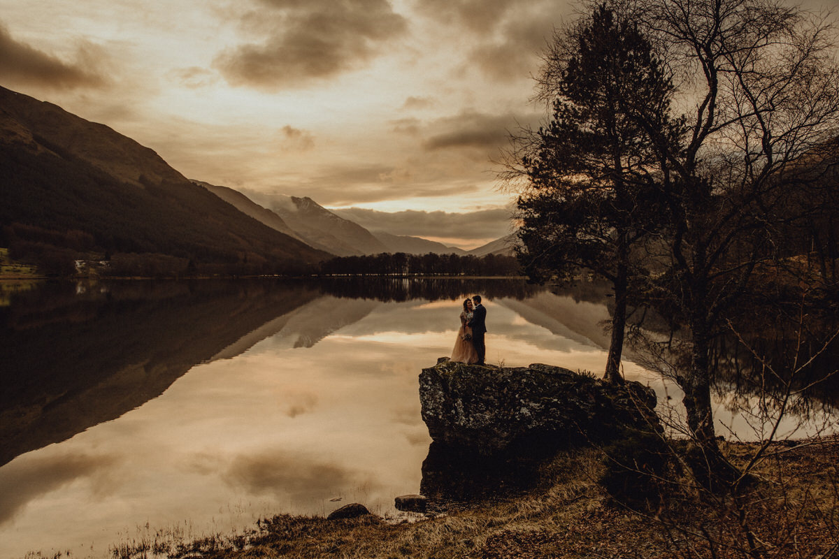 a wedding couple elope to Monacyle Mhor in Scotland