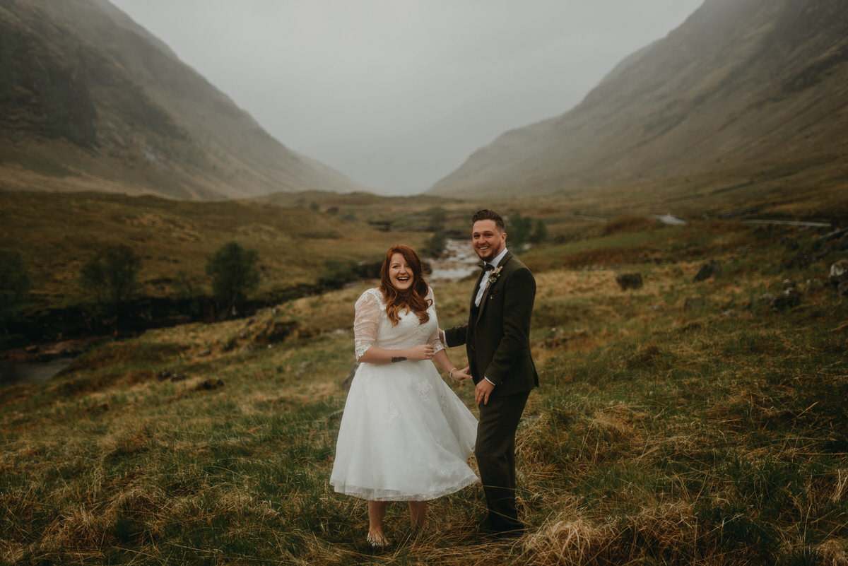 a wedding couple get married at the skyfall location in glencoe scotland