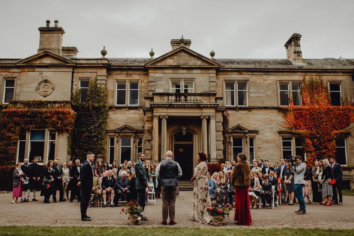A beautiful outdoor wedding ceremony at errol park in scotland