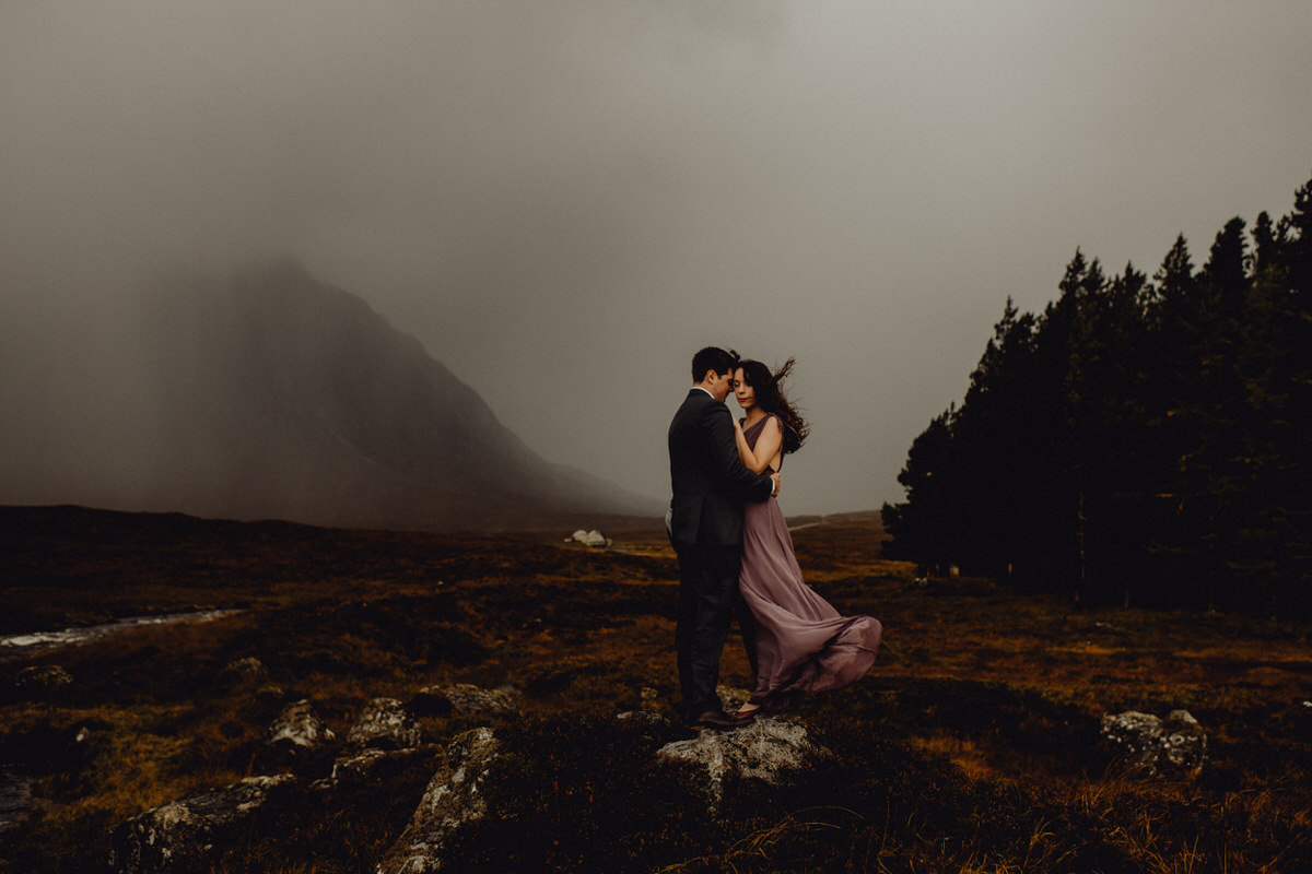 A wedding couple in Glencoe Scotland