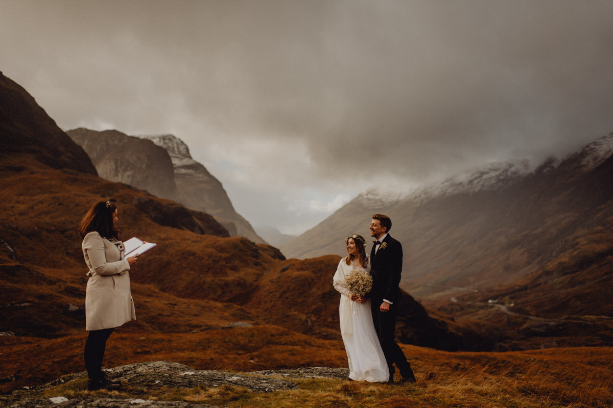 A wedding couple get married in Glencoe Scotland