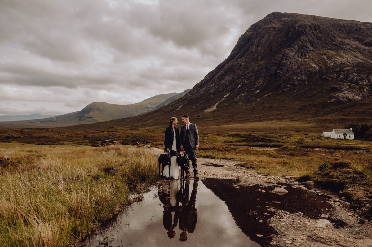 a wedding photo at etive mor in Glencoe Scotland