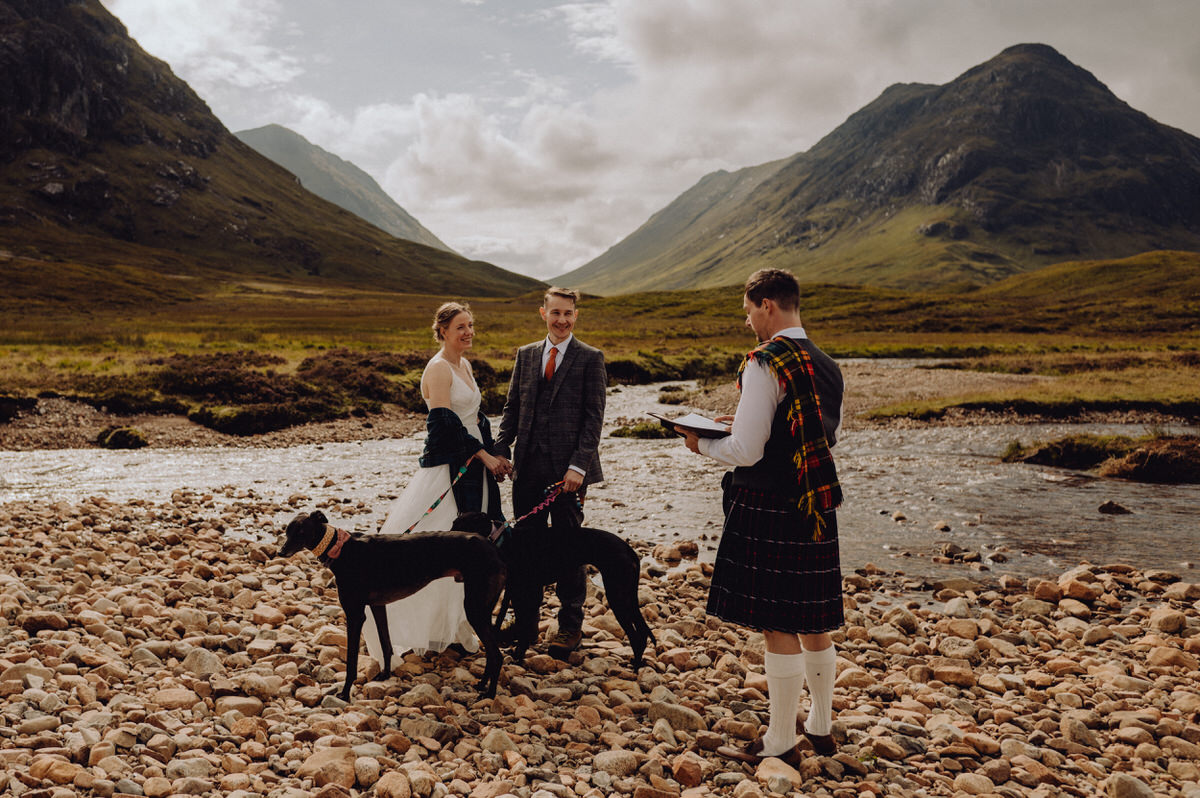 a wedding couple get married in glencoe with their two greyhounds